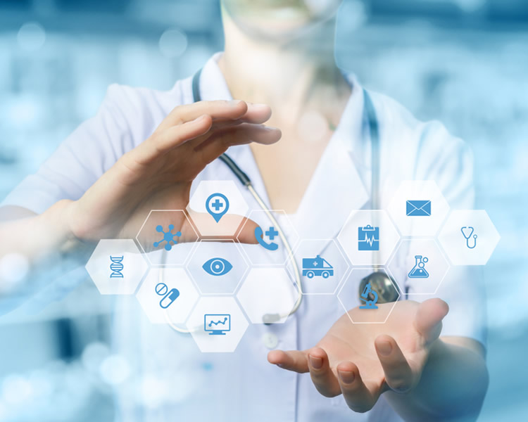 Physician clasping hands around futuristic medical floating icons